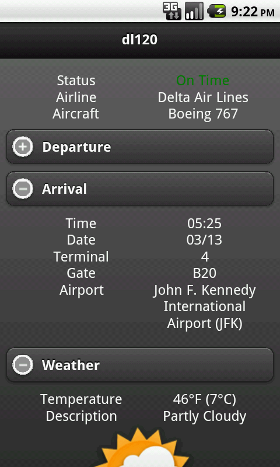 Flight Tracker Details screen